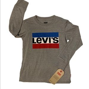 NWT Levi's Gray Long Sleeve Logo Tee - Small